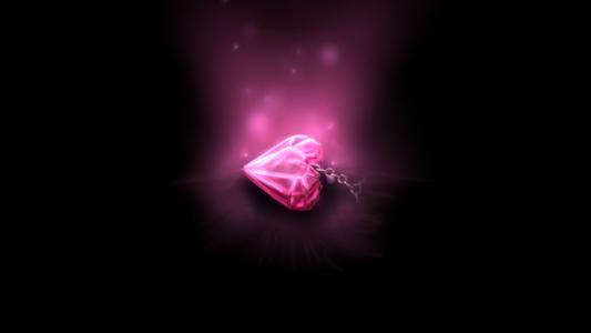 挂件,吊坠,心脏,链,粉红色,心脏,光