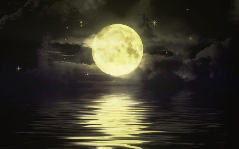 晚上,海,月亮,月光,nbo,星星