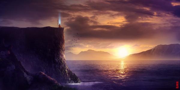 景观,人,岩石,海,艺术,矛,悬崖,和尚