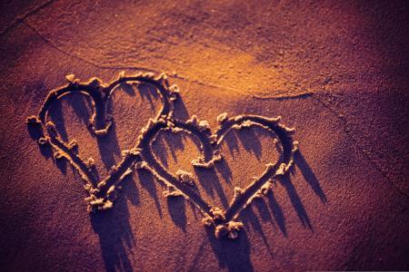 纹理,心,沙子