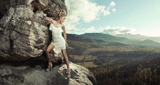 女孩,金发,裙子,山,岩石,性质
