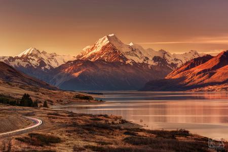 新西兰,南岛,高山,南阿尔卑斯山,库克山,新西兰最高点,傍晚