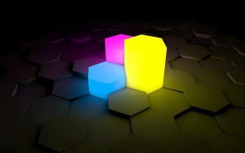 六面体,黄色,紫色,蓝色,3d