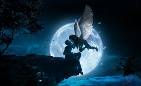 夜,悬崖,男孩,女孩,天使,翅膀,月亮,吻,高度,云,树,叶子