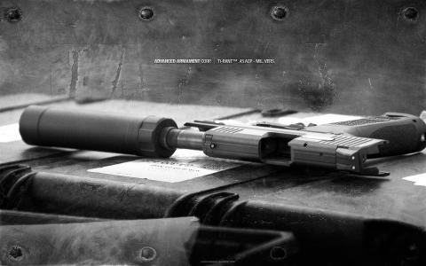 金属,消音器,枪