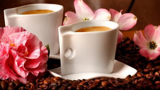 咖啡,五谷,杯子,鲜花
