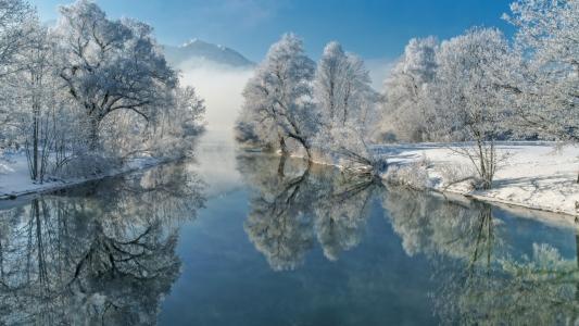 自然,冬季,景观,河,巴伐利亚,Loisach,树木,德国,白霜,反射