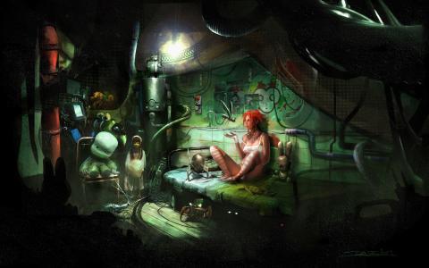 女孩,黑暗的房间,红发,内衣