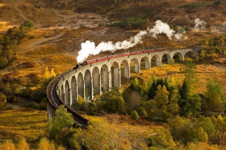 火车,铁路,桥梁,蒸汽机车,火车,秋天,火车