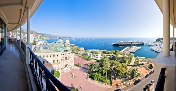 摩纳哥,城市,海洋,阳台