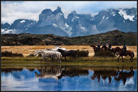 巴塔哥尼亚,智利,高胡,河流,山脉,马匹,骑兵