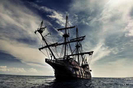 船,帆船,旗鱼,海,波浪,天空,云,景观