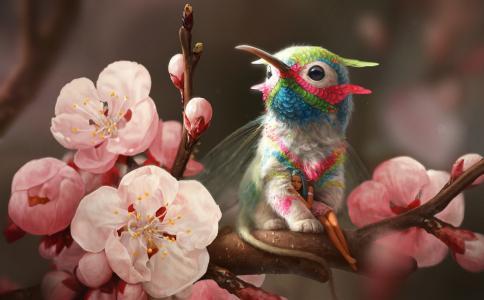 春天,小精灵,格里芬,分支,蜂鸟,鲜花
