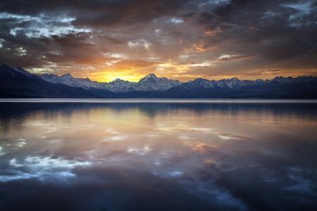 湖,景观,查看,美女,日落,山,天空,云