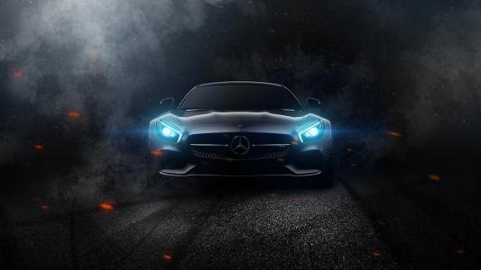 奔驰,艺术,黑暗的背景,超级跑车