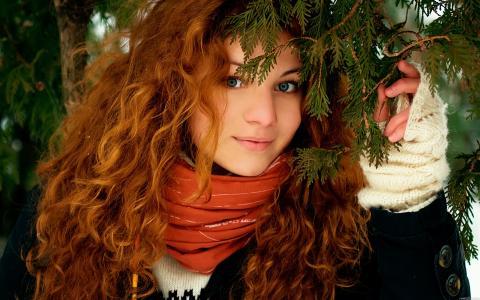 女孩,红色,雪,脸,美丽