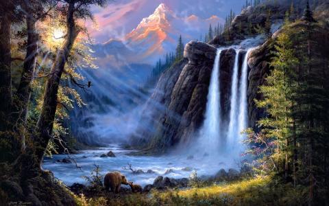 耶稣巴恩斯,景观,河流,瀑布,熊,森林,山脉