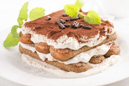 奶油,提拉米苏,蛋糕,薄荷,甜点