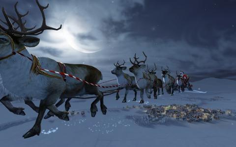 圣诞老人,鹿,吊带,苍蝇,城市,夜晚,月亮