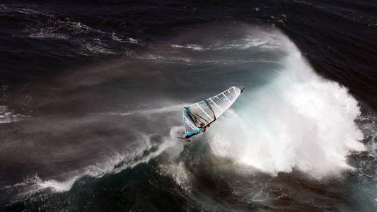 帆板,海洋,水,风