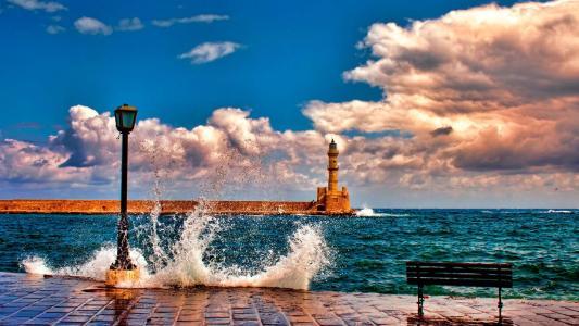 海,灯塔,他们说,码头,冲浪,天空,灯笼,店