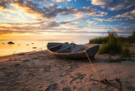 海,沙滩,夏天,船,拉脱维亚,海岸,Klatene,奥列格成熟