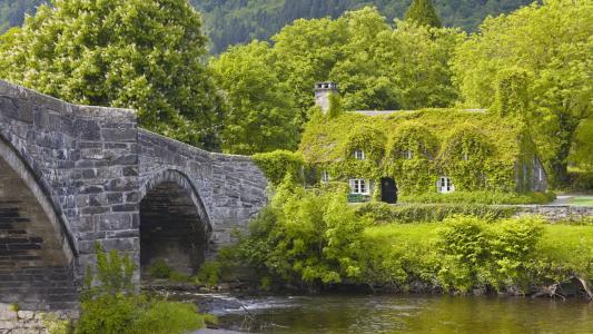 自然,桥,河,房子和舒适,美丽,山,树,春天,栗子
