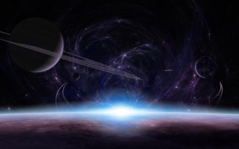表面,大气,光,行星,环,日出