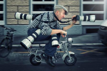 男人,摄影师,狗仔队,轻便摩托车,速度,幽默