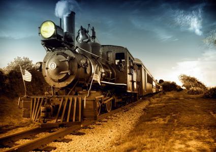 机车,火车,机车,美国,方式,自然,天空,探照灯,钟