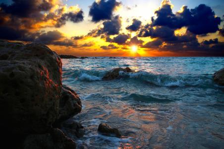 云,太阳,石头,水,海,天空,大自然,宽屏