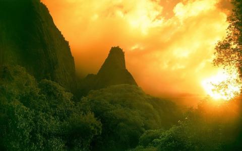 自然,山,丛林,美女,超级照片