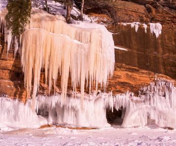 自然奇观,美国,冰洞,岩石,雪,冰,洞,美,冰柱