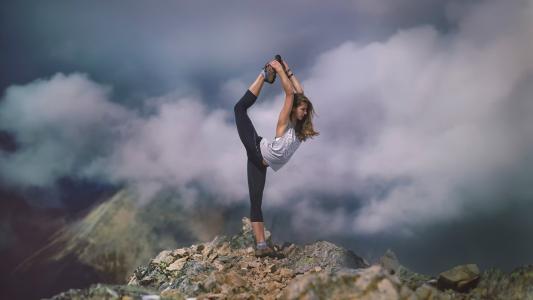 体操运动员,自然,山,美丽
