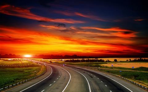 天空,景观,日落,路,自然,云,草,高清