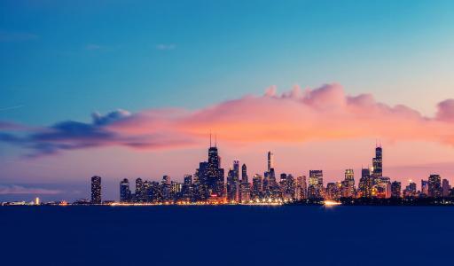 美国,晚上,密歇根湖,伊利诺伊州,芝加哥,节选