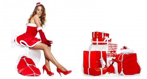 女孩,坐在,棕色头发,盒子,鞋子,礼物