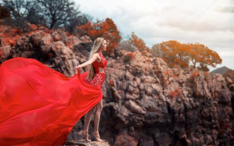 女孩,红色,裙子,美女,苗条,岸,海