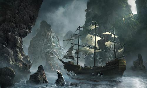 岩石,飞行的荷兰人,风暴,matchack,鬼船逼近,迈克尔matczak,艺术,海