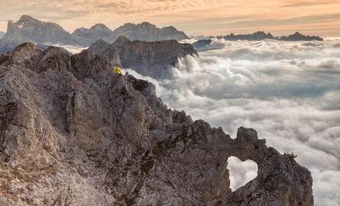山,极端,放松,云彩,美丽