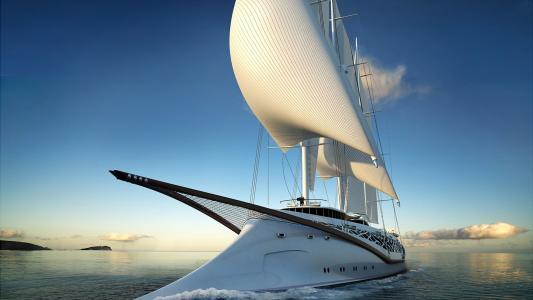 旗鱼,风帆,海洋,天空,风,太阳,游艇,美女
