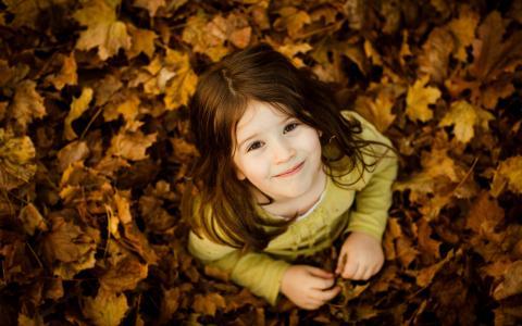 心情,孩子,心情,微笑,微笑,女孩,女孩,孩子,秋季