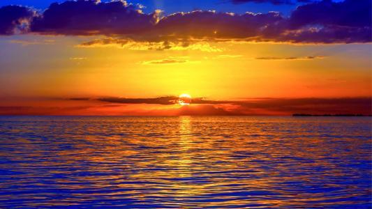 黎明,大海,天空,太阳