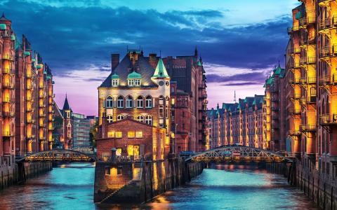 汉堡,德国,河,易北河,桥,房屋,晚上,易北河,港口,城市