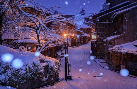 夜街,京都,冬天,降雪,灯,日本