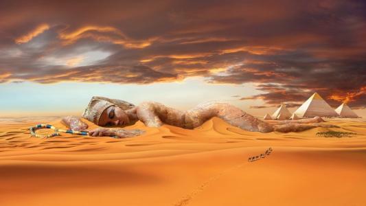 沙漠,金字塔