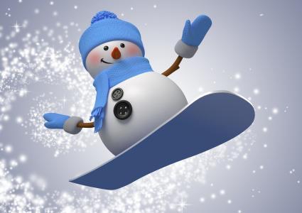 新年,雪人,雪花,滑雪板