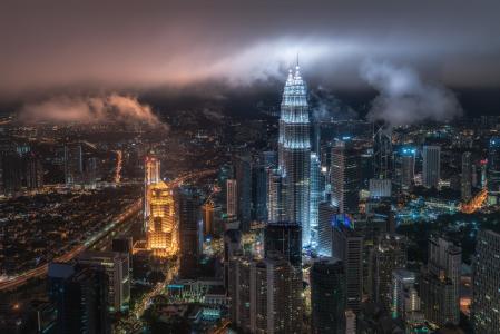 城市,吉隆坡,马来西亚,摩天大楼,精美