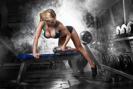 女孩,运动,健身,健身,健身房,哑铃