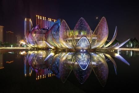 中国,常州,莲花,建筑物,灯,水,灯光,夜景,美景